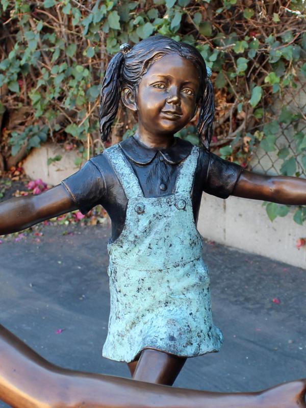 Bronze Statue of 3 Kids Holding Hands