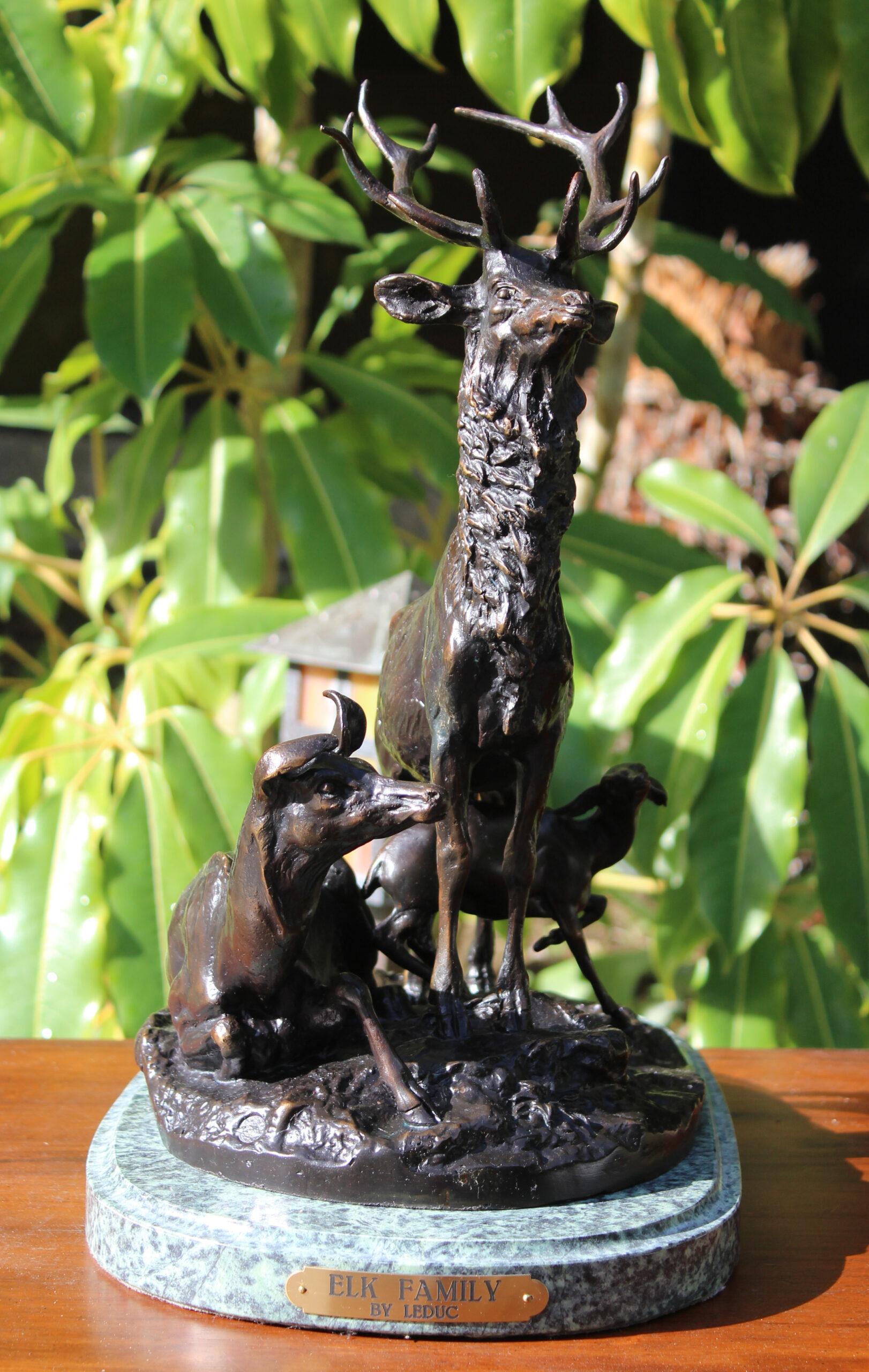 bronze elk family statue
