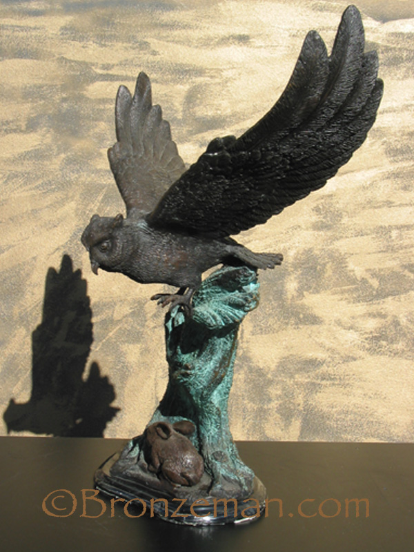 bronze statue of owl