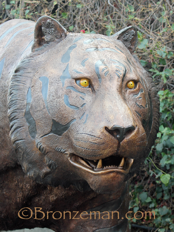 custom bronze tiger mascot statue