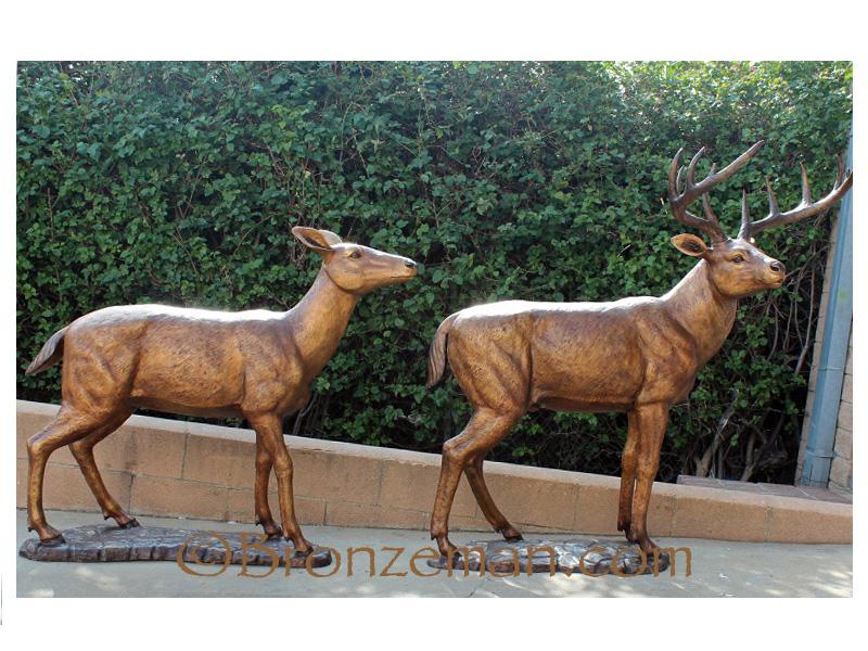 Bronze statue of buck and doe