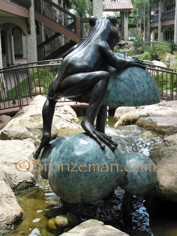 bronze frog statue