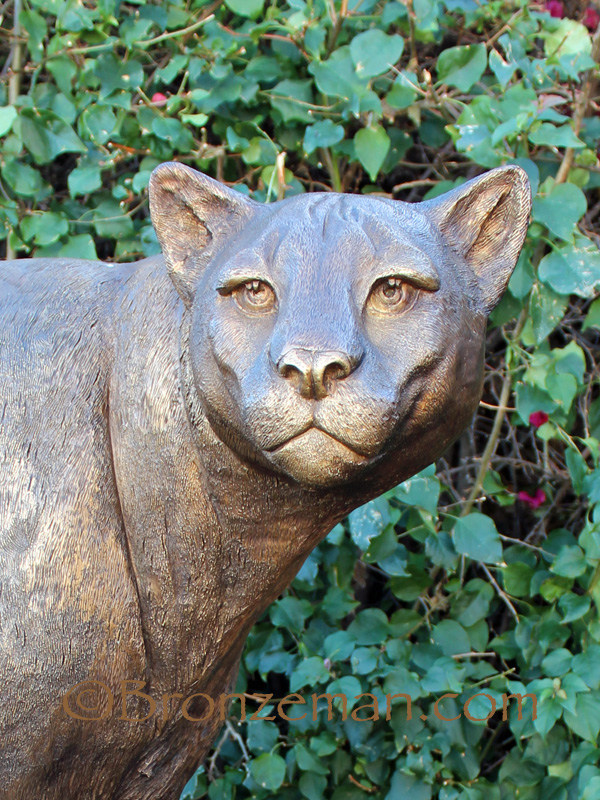 bronze cougar statue