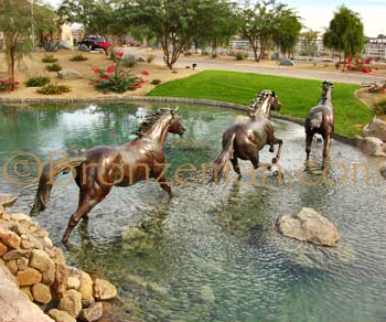 bronze horses running statues