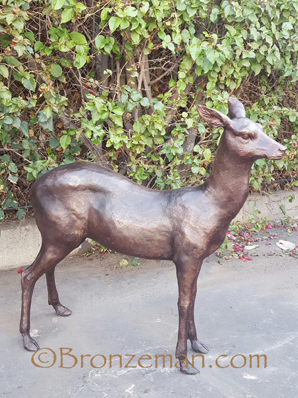 bronze fawn statue