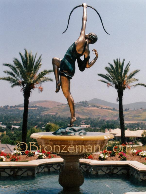 Bronze statue of diane the huntress