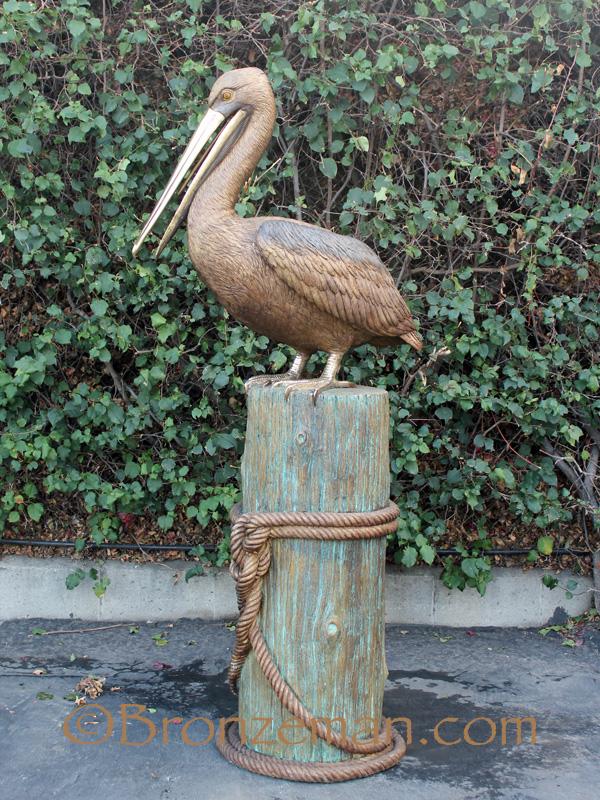 bronze pelican statue