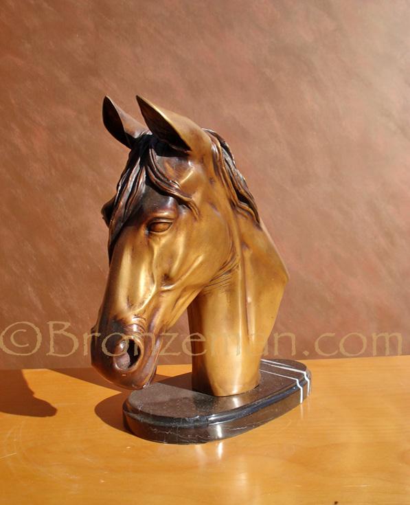 bronze horse bust statue