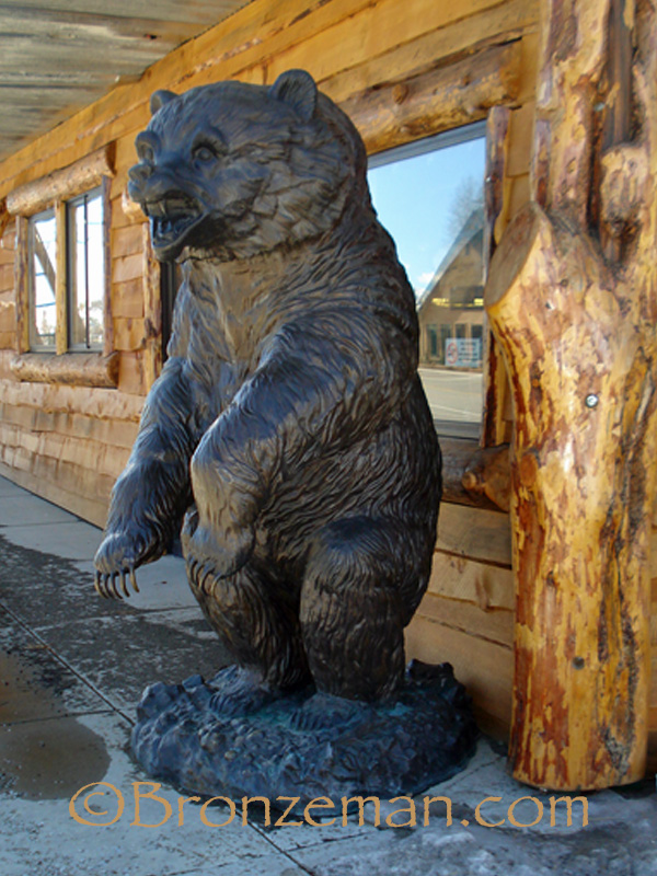 bronze grizzly bear statue
