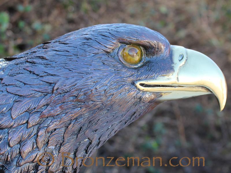 bronze eagle bust statue