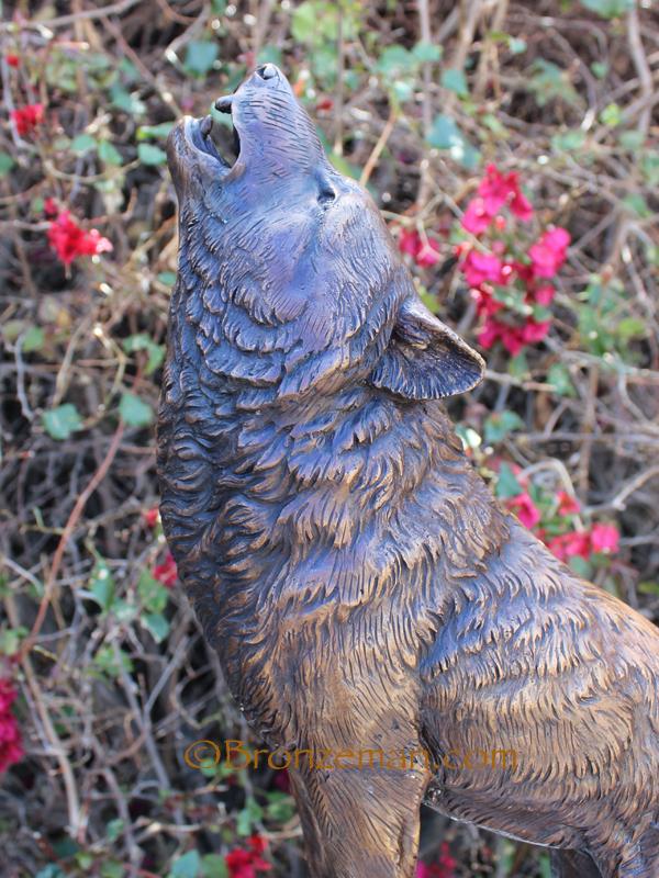 bronze wolf howling