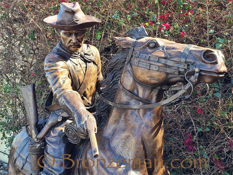 custom bronze statue of soldier on horse