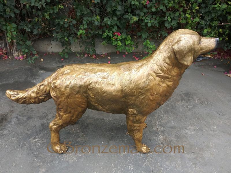 bronze dog statue golden retriever